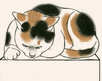 "Cat illustration - Cat print -  Glenister and the Butterfly  4"" X 6"" print - 4 for 3 sale"
