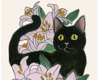 "Cat Art Print - Cat print -  Wow Cat  - 8.3"" X 11.7"" print - 4 for 3 sale"