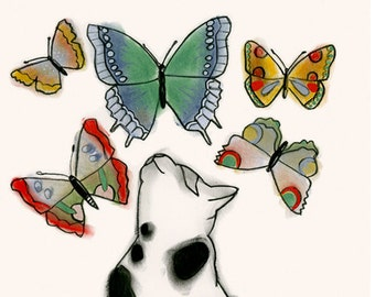 "Black and white cat artwork print -  Butterfly Kitten - 8.3"" X 11.7"" - 4 for 3 SALE"