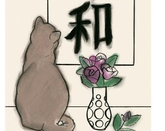 "Cat Art print - Peace Kitten - 4"" X 6"" - 4 for 3 SALE"