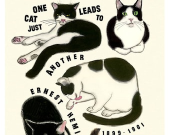 "Typography Cat illustration print -  4 for 3 SALE - One Cat - Ernest Hemingway Quote  8.3"" X 11.7"""" print"