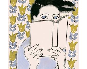 Reading Books illustration art print Pretty girl 4 for 3 SALE - A Good Book -  4 X 6