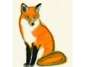 """Fox art print - Mr. Fox Drawing 8.3"""" X 11.7"""" (A4) print - 4 for 3 SALE"""