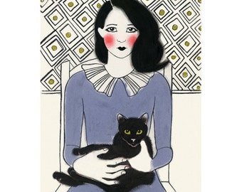 """Cat art -   Francis and friend 4"""" X 6""""  print - 4 for 3 SALE"""