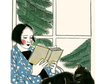 """Cat illustration print -  4 for 3 SALE - A Good Book and Thou  8.3"""" X 11.7"""""""" print"""