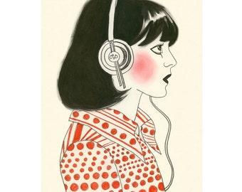 Fashion illustration art print   The New York Listener - 8.3 X 11.7 print - 4 for 3 SALE