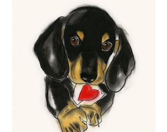 "Valentine's Day Dachshund Dog Art  - Sausage Dog - Doxie Dog Art Drawing Print 4"" X 6"" print - 4 for 3 SALE"
