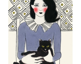 """Cat art -  Francis and friend 8.3"""" X 11.8"""" print - 4 for 3 SALE"""
