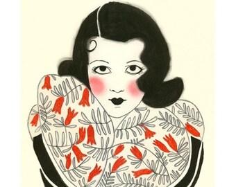 "Fashion Illustration - art print  Tenacity is my Secret  -  4"" X 6"" print - 4 for 3 SALE"