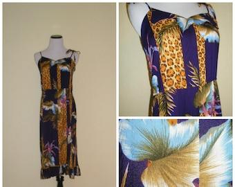 70s-80s summer halter, tropical floral-animal print ala Roberto Cavalli, spaghetti straps tie at shoulder, adorable bodice detail, Size S.
