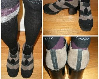70s platforms, Elton John'esque stacked platforms. Unisex Suede platform shoes in grey and black stripes.  7 - 7.5 U.S. Female show size.