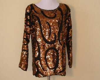80s glam top, copper metallic sequins and black glass seed beads. Look at me blousy blingy dance floor top, size S-M.