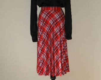 d7bfe401c 70s plaid skirt, pleated plaid wool blend full skirt. Red white and blue  preppy skirt. New with Tag vintage skirt, size S.