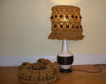 Vintage macrame lampshades, set of two, brown natural fiber with brown wood beads woven into shade. Boho-hippie chic organic lampshades.