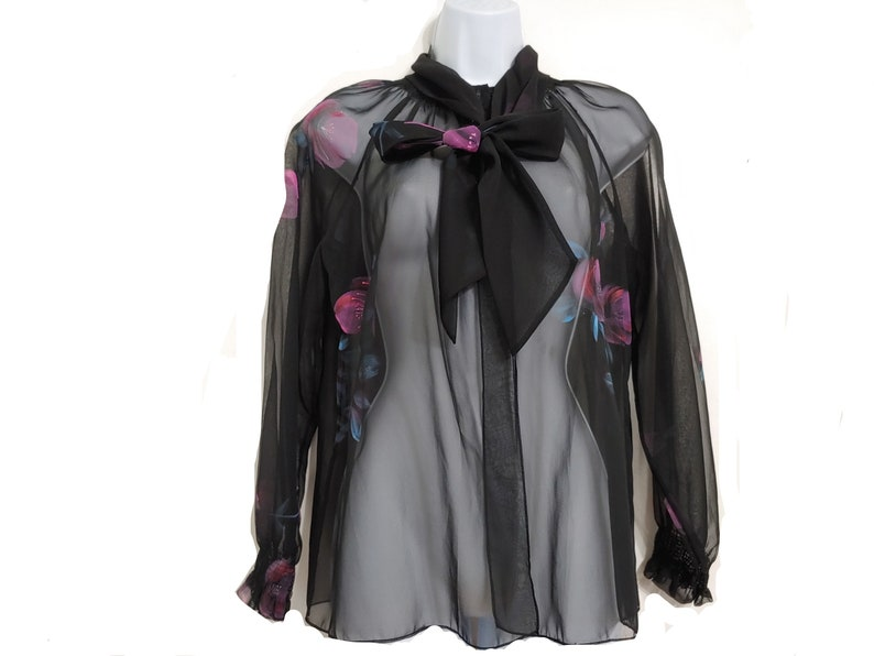 90s Sheer black evening cardigan with pink and blue floral image 0