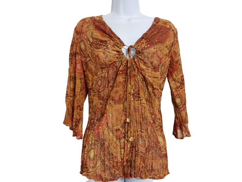 70s boho blouse with multi color design pattern and drawstring image 0