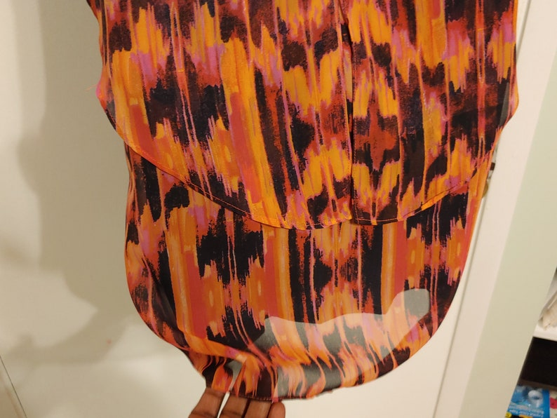 XS work ruffle tier dress in orange and pink abstract with dark blue slip for Women by Walter Baker 80s Vintage Clothes B5-2196