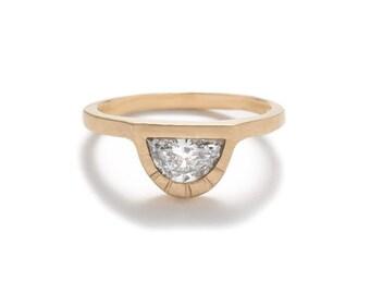 Omnia Half Moon Diamond Ring - Large Diamond