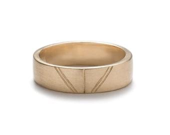Tange Unisex Wedding Band - 14k Gold