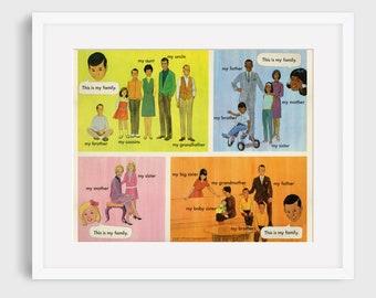 Multicultural Family Teaching Poster  // Vintage Restoration
