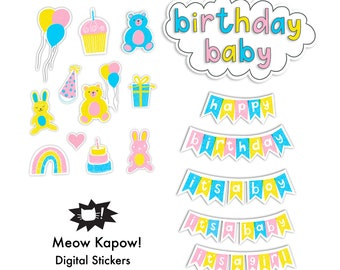 Digital Stickers // Birthday Baby // GoodNotes and Planner Stickers