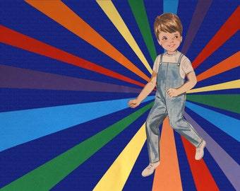 Rainbow Boy Collage Art Print