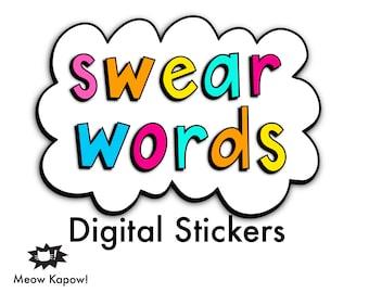 Digital Stickers // Swear Words // GoodNotes Stickers & Clip Art