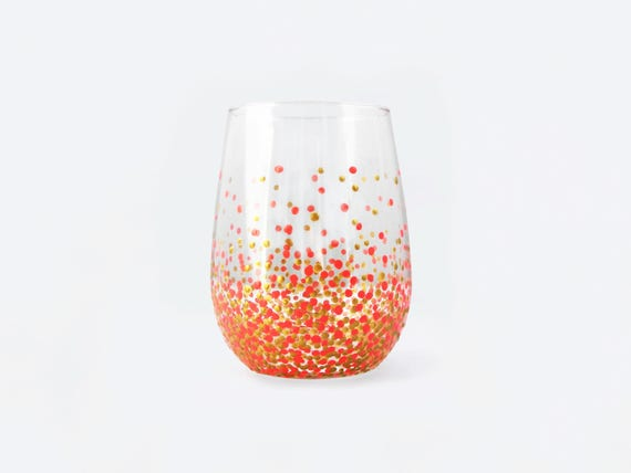 Handpainted Polka Dotted Stemless Wine Glass Gold Pink Etsy