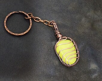 Blue glow in the dark woven wire wrapped plastic pebble keychain wire work wire art