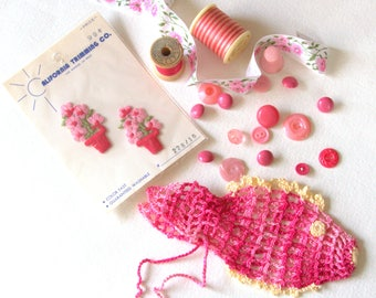 Vintage Pink Sewing Lot - Crochet Fish - Appliques - Thread - Spools - Rosebud Ribbon - Vintage Button Lot - Pink Thimble