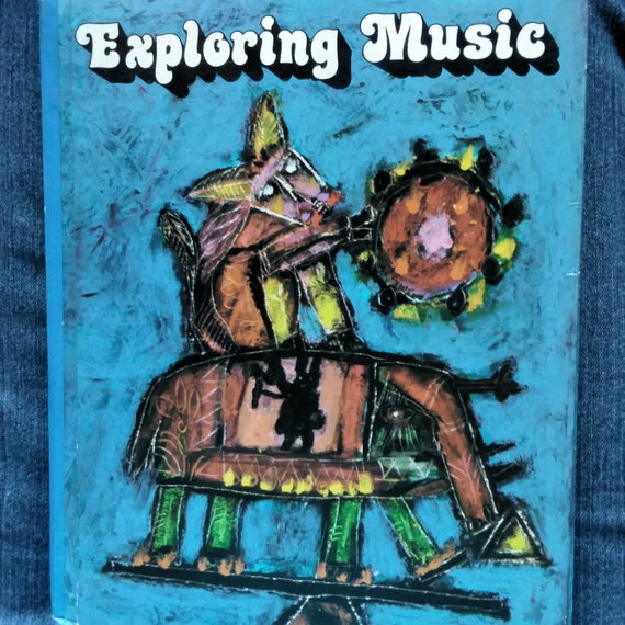 Vintage Children's Music Book -EXPLORING MUSIC - Old School Textbook -  State California Reader - Illustrated Songbook - Retro Kids Book