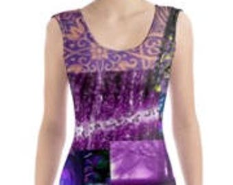 Ultra Violet Purple Art Collage Pattern Print Body Con Dress