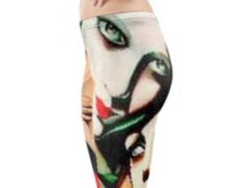 Festival Leggings ~ Yoga pants ~ Yoga Leggings ~ Printed Cropped Length ~ Green Collage ~ Women Lycra leggings ~ Active Wear ~ Dance Wear