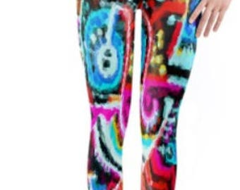 Rave / Festival Leggings ~ Yoga pants ~ Yoga Leggings ~ Printed Capri Length leggings ~ Bold Neon ~ Women Lycra leggings