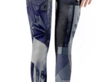 Active Wear ~ Dance Wear ~ Rave/Festival Wear ~ Yoga Pants / Leggings ~ Capri Length  ~ Navy Blue Collage ~ Women Printed Lycra leggings