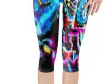 Rave Festival Leggings ~ Yoga pants ~ Yoga Leggings ~ Printed Cropped 3/4 Length leggings ~ Bold Neon  ~ Women Lycra leggings