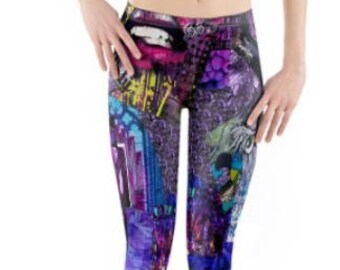 Festival Leggings ~ Yoga pants ~ Yoga Leggings ~ Printed Cropped 3/4 Length ~ Ultra Violet /  Purple Collage ~ Women Lycra ~ Active Wear