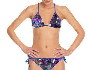 Ultra Violet Purple Art Collage Pattern Print Strappy Bikini