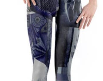 Festival Leggings ~ Yoga pants ~ Yoga Leggings ~ Printed Cropped 3/4 Length ~ Navy Blue Collage ~ Women Lycra leggings ~ Active Wear