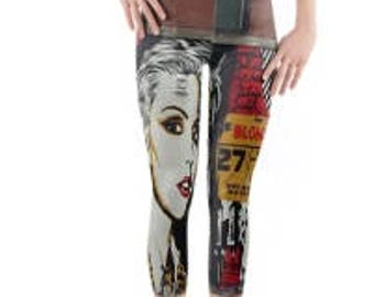 Active Wear - Dance Wear - Rave/Festival Leggings ~ Yoga pants ~ Yoga Leggings ~ Printed Leggings ~ Blondie Graffiti ~ Women Lycra Leggings