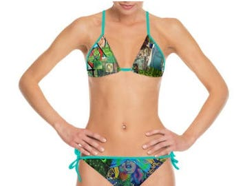 Green Art Collage Pattern Print Strappy Halter Neck Bikini