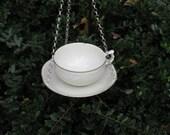 Repurposed China teacup birdbath bird bath birdfeeder