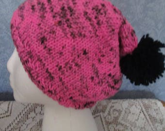 Big Slouch Hat in Vivid Pink and Black