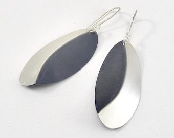 Sterling Silver Oval Crease Earrings - E2871
