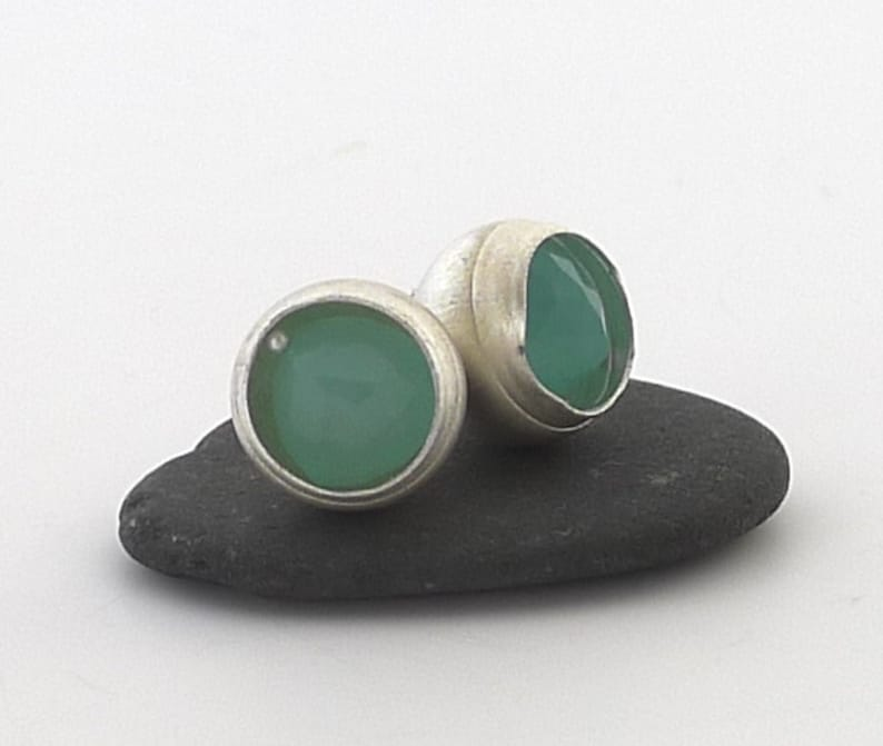 Sterling Silver and Peruvian Chalcedony Stud Earrings E1920