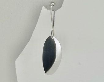 Oxidized Sterling Creased Oval Earrings - E2872