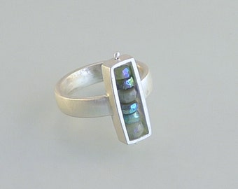 Sterling Silver and Chrysoprase Rectangular Box Ring - R0020