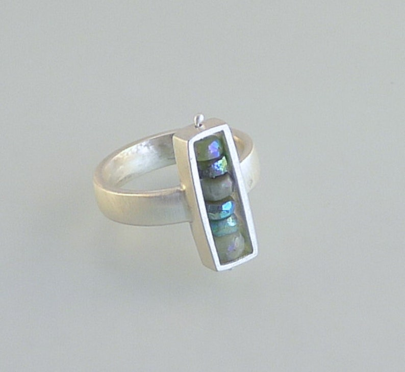 Sterling Silver and Chrysoprase Rectangular Box Ring  R0020 image 0