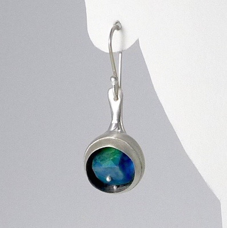 Funky Sterling Silver and chrysoprase Earrings  E2370 image 0