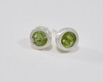 Sterling and Peridot Stud Earrings - E1910